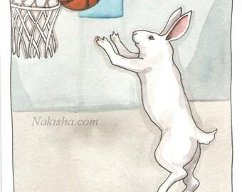 Original Watercolor Rabbit Painting - Basket Ball