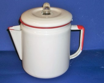 Enamelware White and Red Clean Coffee Pot / 8 Cups /  Camping