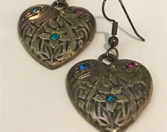 Heart Shaped Earrings with Crystals - Vintage