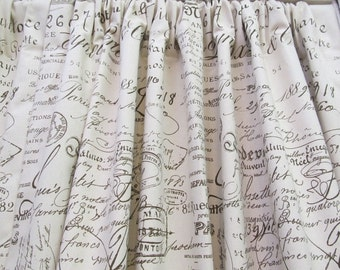 PAIR LINED Cotton Duck French Script Drapery Panels