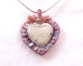 I love you Milagro Style Heart wearable art borosilicate blown glass pendant pendy sterling silver satin or cotton necklace art corazon