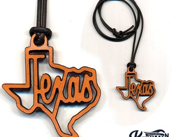 Laser Cut Leather Necklace and Keychain Texas