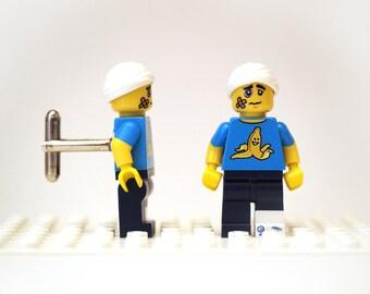 Clumsy Guy cufflinks. Cufflinks made with LEGO(R) bricks. Banana peel. Cuff links Cufflink Wedding gift