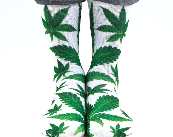 Samson® Ganja Leaves Sublimation Hand Printed Socks Weed Cannabis Marijuana Marihuana Pot Grass Quality Print UK