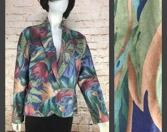 Vintage Floral Blazer - Women's Vintage Boho Chic Floral Jacket - Checkaberry 80's 90's Blazer Jacket Hawaiian Cute Hipster Jacket