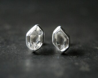 Clear Herkimer Diamond Studs in Sterling Silver