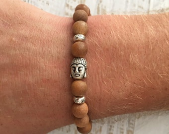 men's bracelet, sandlwood buddha bracelet, yoga jewelry