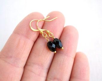 Summer Earrings Simple Black Earrings Black Glass Earrings Black Dangle Earrings Gold or Silver Earrings Mini Black Drop Earring Custom gift