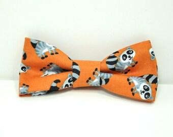 Orange Raccoon Boy's Bowtie, Orange Bow Tie, Toddler Bowtie, Baby Bowtie, Preppy Boy's tie, Pink Flamingo Tie
