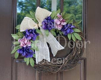 Front Door Wreath / Spring Front Door Wreath Cream Burlap Bow / Spring Wreaths / Monogram Wreath / Easter Wreath/ Mother's Day Gift