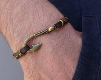 Fish hook charm Bracelet, Bronze fish Hook suede bracelet, hook charm bracelet, Mens hook Bracelet, Womens hook Bracelet, nautical bracelet