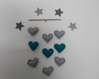 Gray and turquoise hanging heart mobile