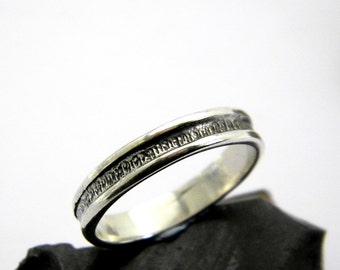 Silver band ring, sterling silver ring textured thin band for men, oxidized silver men's ring rustic jewelry for men  ring size 10.5