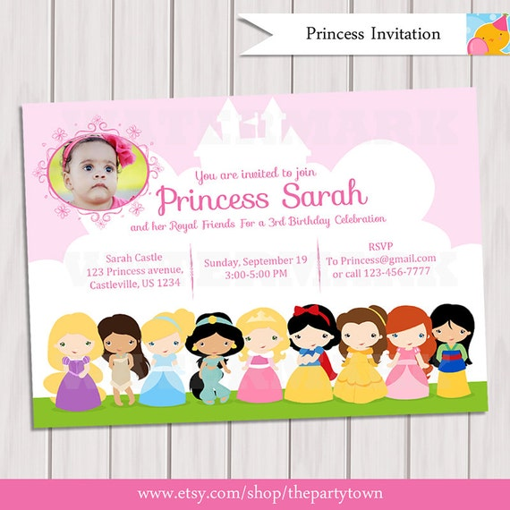 Princess birthday party photo invitation princesses invite filmwisefo