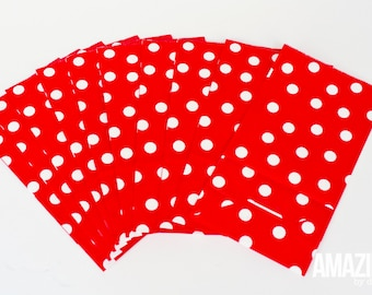 Red & white dot paper party bags, set of 10