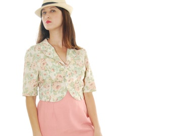 50's Blouse.1950 Blouse.Vintage blouse.Pastel Floral Print Vintage Blouse For Women 1950s.50's.Free Shipping.Size M