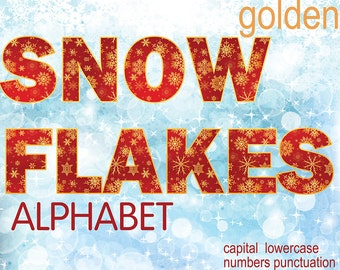 Digital Christmas golden red Snowflakes Alphabet for scrapbooking, Papercrafts, Decor, Fabric, Pillow, xmas clipart, Instant Download, #60