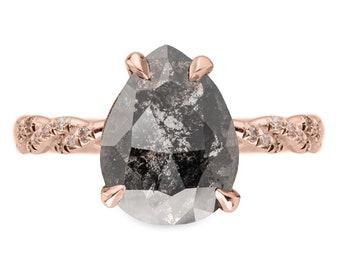 1.71 Carat Black Speckled Pear Diamond Engagement Ring, Heidi Setting, 14k Rose Gold