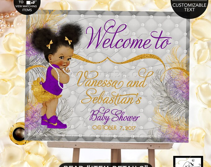 Baby Shower Welcome Sign, Purple Silver and Gold Baby Shower Princess Baby Shower, African American printable, Afro PUffs