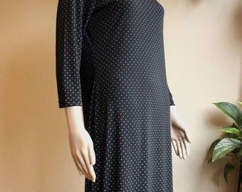 Vintage 80s Black Polka Dot Maxi Dress