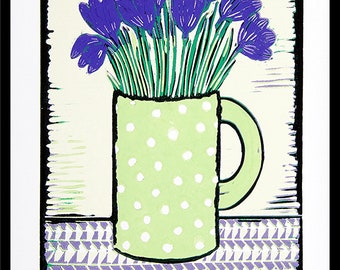 linocut, Crocus, spring time, green and purple, printmaking, flower print, modern decor, modern art, nature print, flower posy, green mug