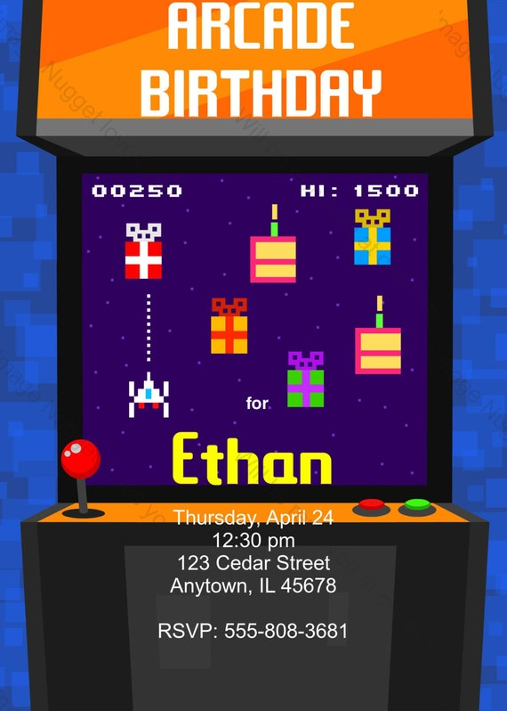 Arcade Video Game 8bit Birthday Party Invitation printable