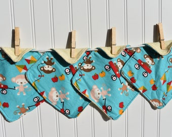 Set of 4  Monkeys with Wagons Print Children's Washcloths,Reusable Wipes, Napkins