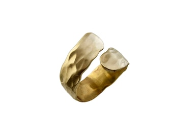 Gold cuff hammered ring,  wrap around ring, rustic jewelry, by pass ring, artisan jewelry, simple ring, open spiral ring, brass jewel