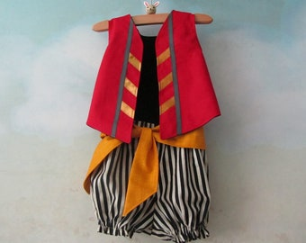 Baby, Toddler Pirate Costume: Fully Lined Vest, Knickers, & Sash - All Cotton/Linen - Size 6 to 24 Months, Ready To Ship/Made To Order