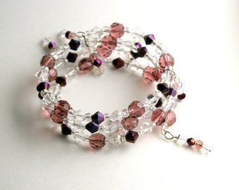 Plum & Crystal Memory Wire Bracelet, Iridescent, Purple Shimmer, One Size, Spiral Stacked Bangle, Statement Jewelry