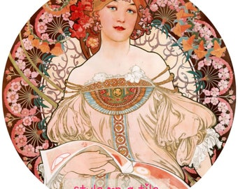 "Lovely Art Nouveau Alphonse Mucha Champagne Lady design 23cm or 9"" round placemat table mat server centrepiece"