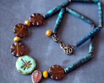 Unlisted - Colorful Tribal Necklace - African Inspired Necklace - Amber and Teal - Bead Soup Jewelry - Dragonfly Necklace