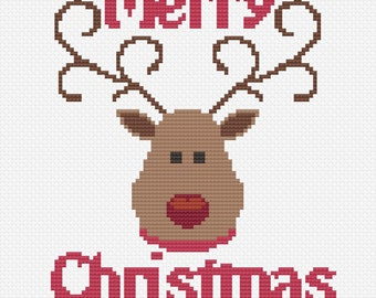Instant Download Cross Stitch Pattern PDF - Rudolph, Merry Christmas