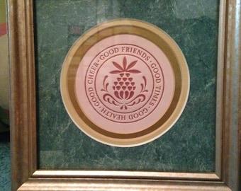 Pineapple, Pineapple print, hospitality, friendship, custom framed