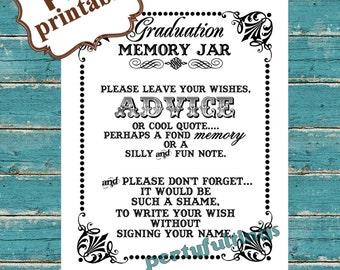 INSTANT DOWNLOAD- 8 x 10 Graduation Memory / Wish Jar---Printable PDF File