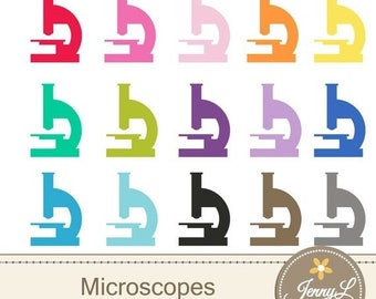 50% OFF Microscope Clipart Medical  for Planners, Digital Scrapbooking, Invitations, cupcake toppers, Stickers, Labels