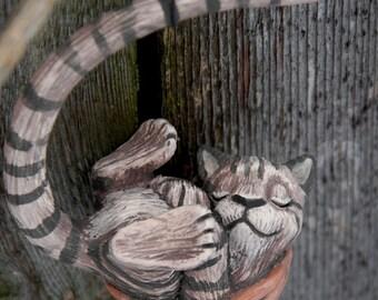 Sleeping Tabby Cat Walnut Ornament