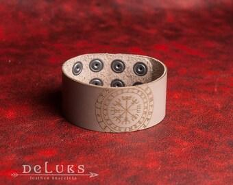 Celtic Leather Bracelet , The Vegvisir , Men's Leather Wristband, Norse Leather Bracelet, Nordic Leather Bracelet Cuff, Men's Cuff Bracelet