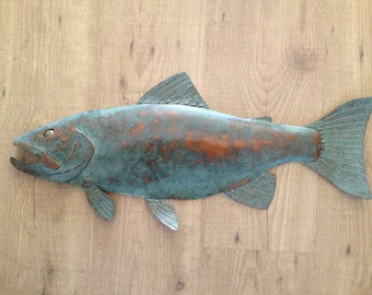 Fish Trout Metal Wall  Sculpture 24in Lodge Cottage Lake Cabin Art