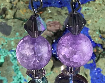 Purple Round/Leaf Bead Swarovski Crystals Earrings