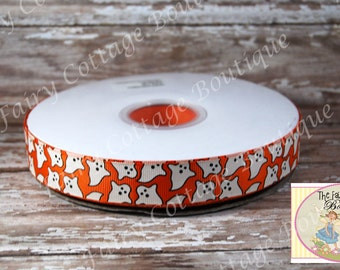 Glow in the Dark Halloween Ghosts 7/8 Inch Ribbon