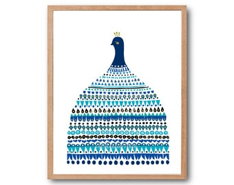 Peacock Dress Art Print, Bird Art Print, Peacock Feathers, Peacock Illustration, Peacock Decor, Peacock Art, Peacock Wedding dress