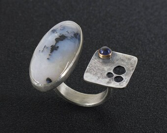 Modern, Open Band Ring in Sterling Silver and 14K Gold with Plume Agate and Iolite, Handmade, One of a Kind, 2 Stone Statement Ring