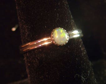 OPAL RING australian opal size 8 up to size 9 sterling silver