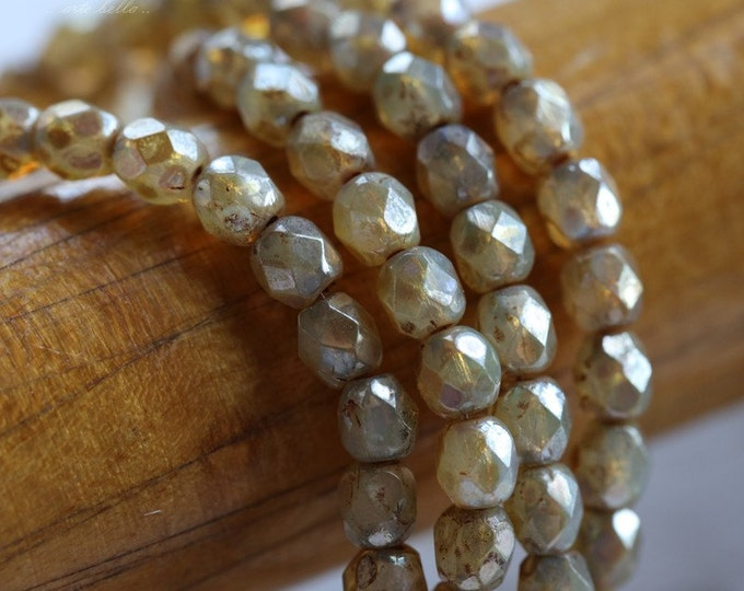 sale .. CASHMERE TOTS .. 50 Picasso Faceted Czech Glass Beads 4mm (5105-st)