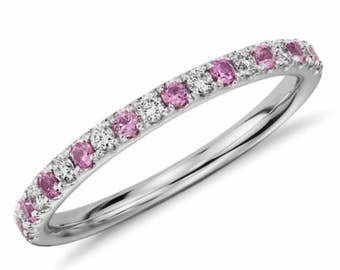 Diamond and Pink Sapphire Half Eternity Band 14K White Gold Alternating Sapphire Diamond Pave Eternity Ring 1.6mm Matching Band Birthstone