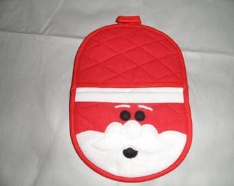 Santa in red cotton pot holder