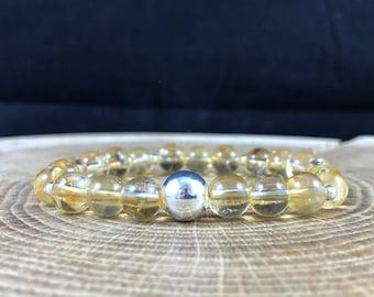 Natural Citrine Gemstone Bracelet Healing Yoga Silver 925 Sterling Joyful Solar Plexus Chakra 18cm Gift Lucky 12