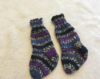 Purple Blue Black Stripe Children's Hand Knit Socks