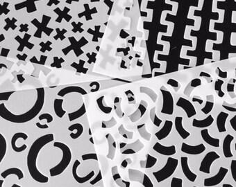 """Stencils - """"Marked"""" four design set, 6""""x6"""""""